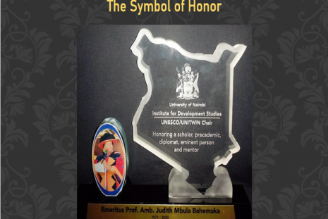 A symbol of honor presented to Emeritus Prof. Amb. Juduth Mbula Bahemuka